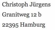 Postanschrift CJuergens.de
