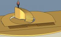 3D-Modell der Bühne mit Felsen, Rampe und Liften