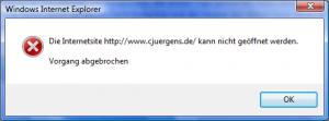 Ladefehler beim Öffnen von Cjuergens.de mit dem Internet Explorer 7