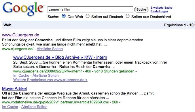 """CJuergens.de auf Platz 1 bei google - zumindest für """"Camorrha + Film""""."""